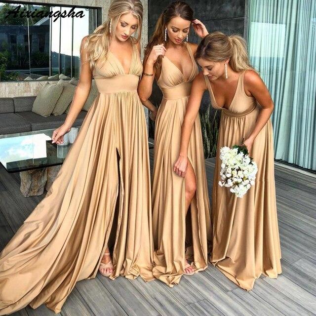 Sexy Sleeveless V-Neckline Backless Satin vestido formatura Evening Party Dress with Split Long Prom Dresses 2018