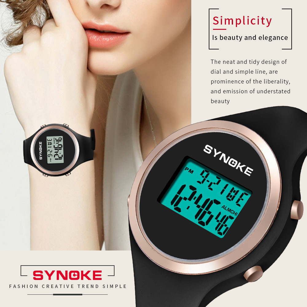 SYNOKE Student Sports Watches Fashion Digital Watch Waterproof Watch Elegant Chronograph LED High Quality 2019 New