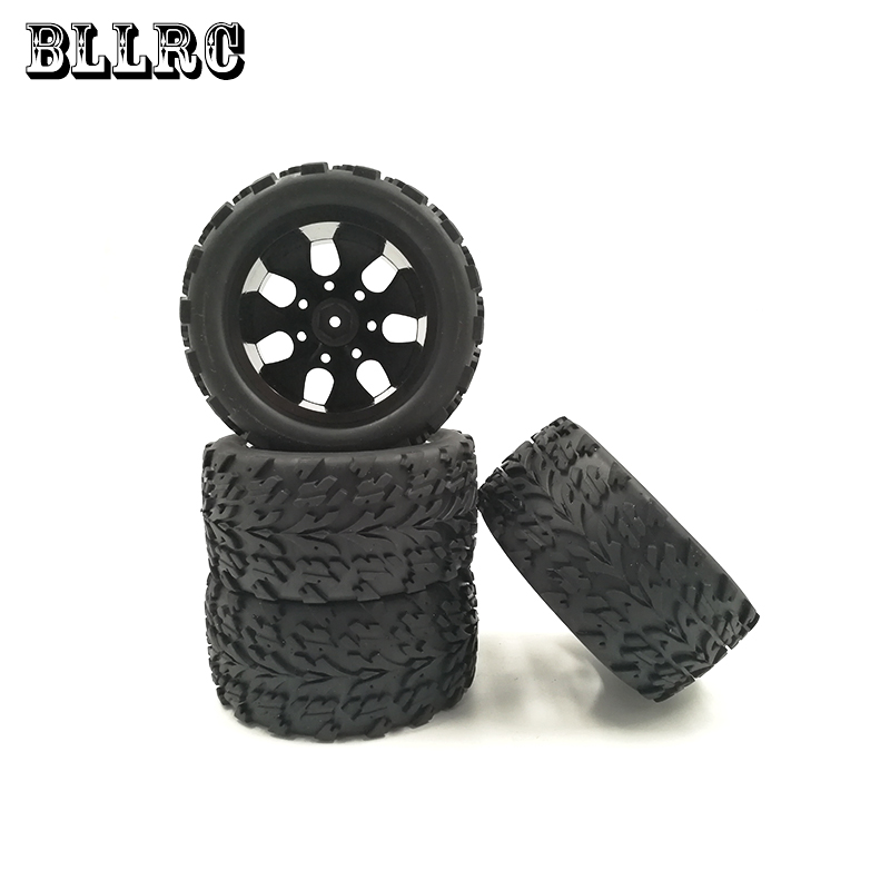 4PCS BLLRC RC car 1/10 HSP 12mm racing wheel rim tires diameter 115mm width 55mm Suitable for 1/10 HSP 94111 94188 94108 HPI 4pcs 12mm racing wheel rim
