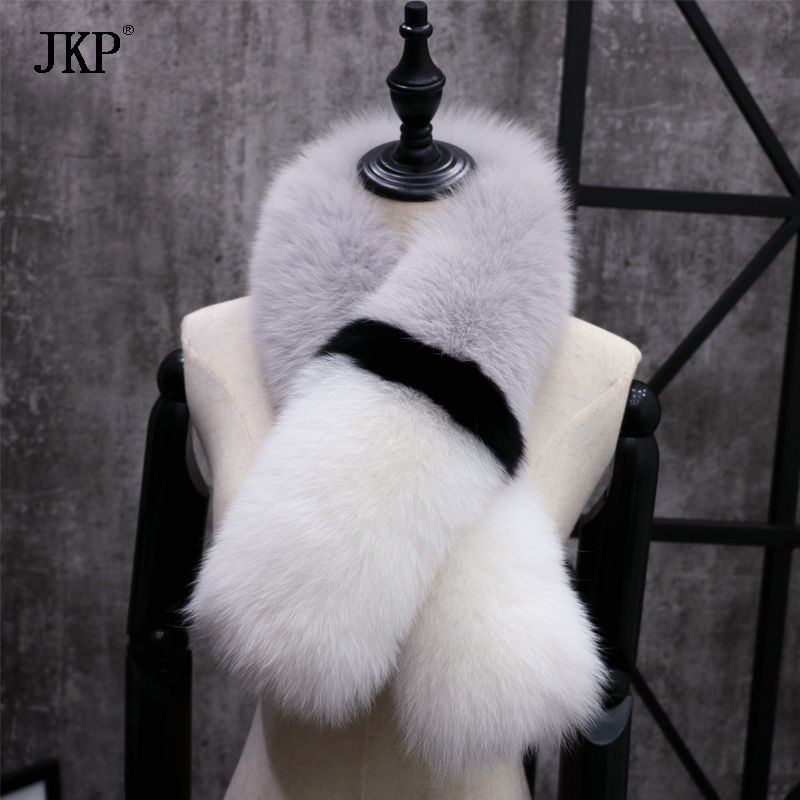 Women's Winter Genuine Fox fur Collar Fashion Scarf Color stitching Soft Fox fur Collar Real Fur Scarves - 4
