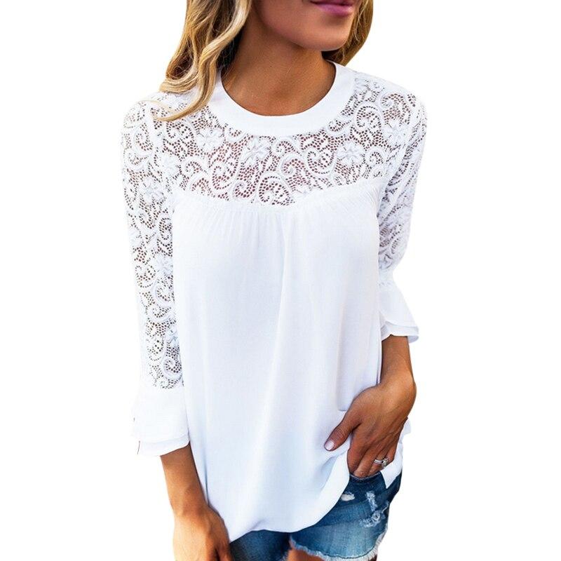 2018 Primavera Verano mujer blanco Encaje Blusas manga larga elegante túnica Tops Hollow out damas Oficina Camisas algodón blusas Mujer