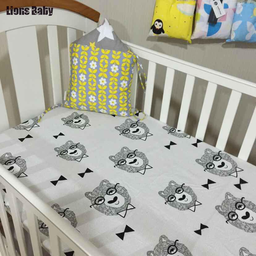 Fashion Ins Monster Newborn Baby Bedroom <font><b>Crib</b></font> Cot Fitted Sheets <font><b>Bedding</b></font> Sheet Cot Bed Toddler Junior Bed Bumpers Fitted Sheet