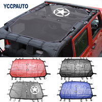 Car Styling Roof Sunshade for Jeep Wrangler JK Accessories 2 / 4 Doors Shade Net Top Sun UV Protection Cover Black Red