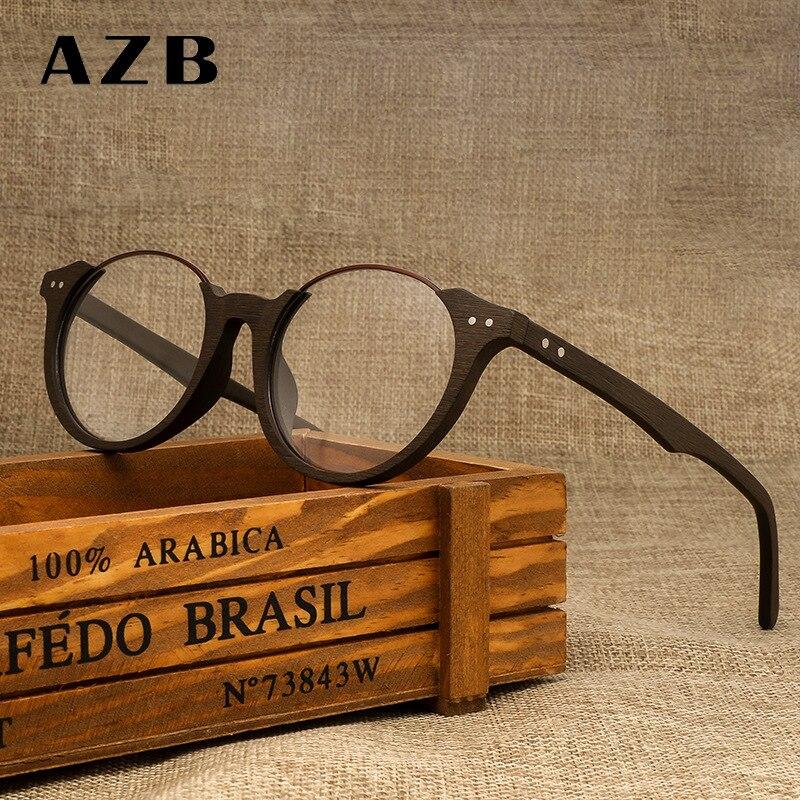ed19f02d4a063 AZB Madeira Frame Do Vintage Óculos Redondos Óculos de Lente Transparente  das Mulheres Das Mulheres Dos