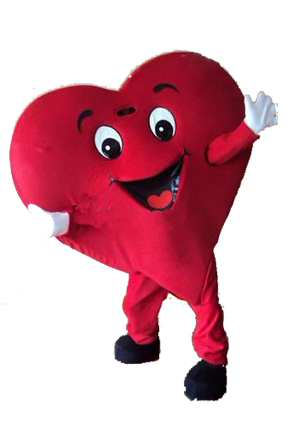 Red Heart of Adult Mascot Costume Material RED HEART Mascot Costume Fancy Dress Party Festival Mascot