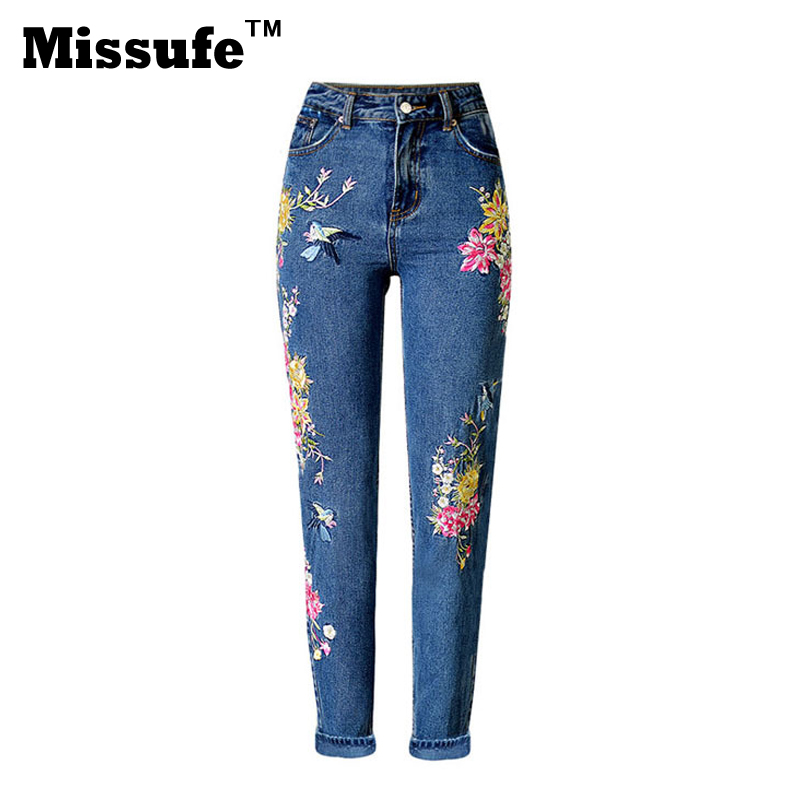 Missufe Flower Embroidery Denim Jeans 2017 Spring Girl's Street Fashion Casual Clothing Straight Women Pants flower embroidery jeans female blue casual pants capris 2017 spring summer pockets straight jeans women bottom a46