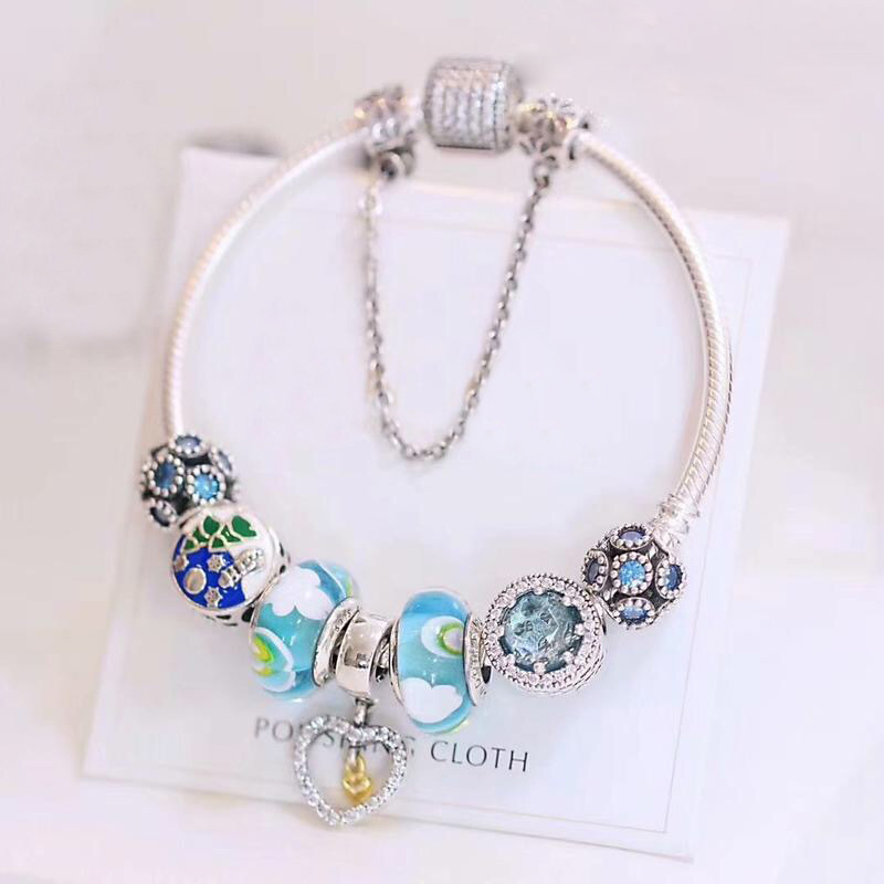 Fits  Jewelry Charm DIY Ladies Gift Jewelry Multicolor Glass Cat Eye Stone Beads 925 Sterling Silver Finished BraceletFits  Jewelry Charm DIY Ladies Gift Jewelry Multicolor Glass Cat Eye Stone Beads 925 Sterling Silver Finished Bracelet