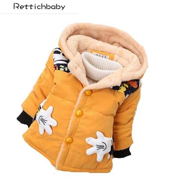 2017 Winter Herbst Baby Mädchen Jungen Cartoon Oberbekleidung Baumwolle Infant Warme Kapuzenmantel Kinder Kleidung