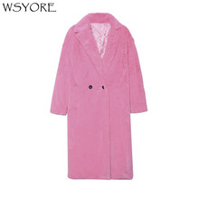 WSYORE Fashion Thick Fur Coat Women 2018 New Winter Pink Purple Large Size Velvet Outwear Long Jackets and Coats Female NS516