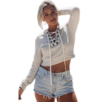 Cotton Fashion Lace Up Long Sleeve Crop Top Autumn Winter Women Deep V Neck Hollow Out