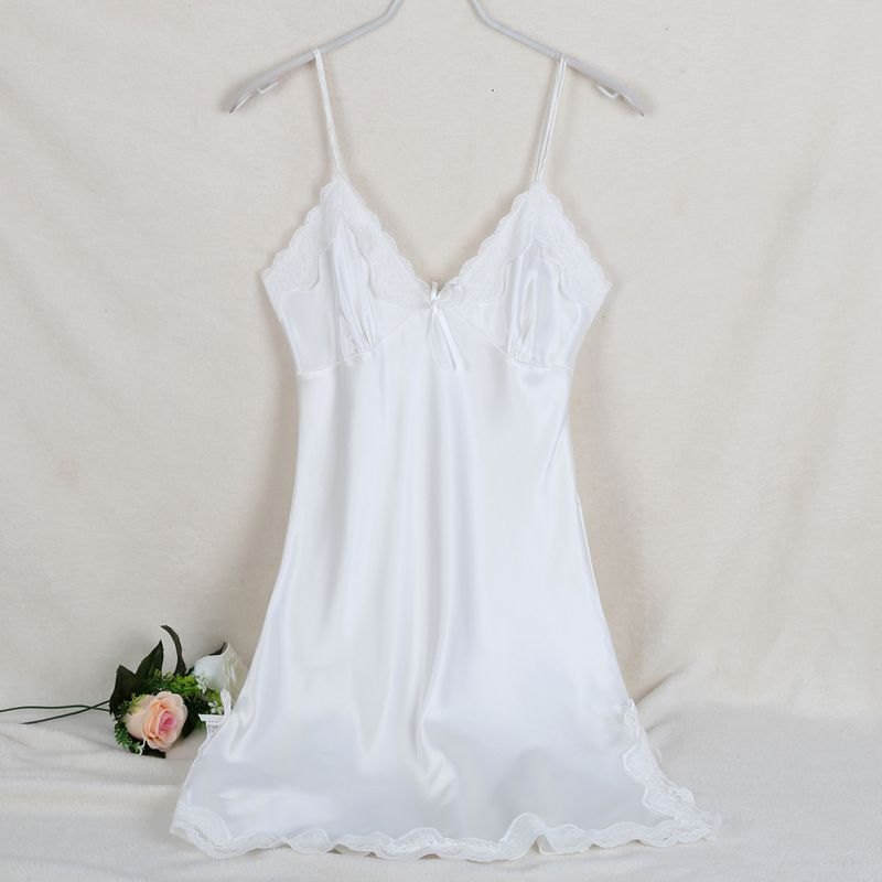 Sexy Silk Satin Ladies Solid Night Dress Sleeveless V-neck Nightgown Lace Sleepwear For Women