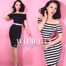 FREE SHIPPING 2015 Summer Style Vintage All-match Pin Up Sexy Strapless Tight One-piece Bodycon Dress For Women's Clothing