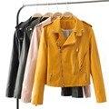 Новый 2017 женские Зимние Осень Новый Clothing Модного бренда Тонкий Розовый Желтый Черный С Длинными рукавами Искусственной Кожи Куртки женщины куртка