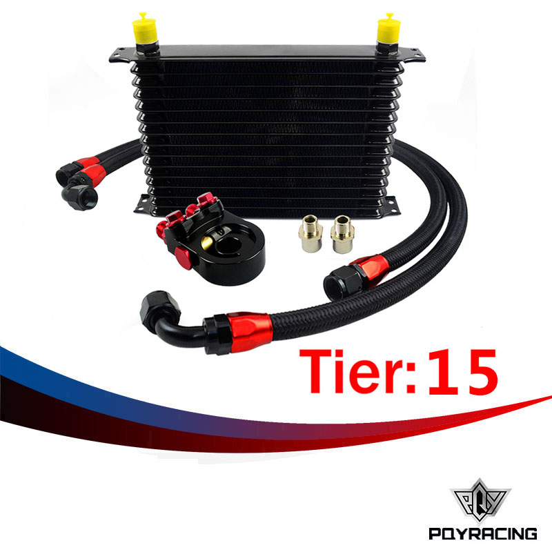 PQY RACING- Universal 15 ROWS Trust type OIL COOLER KIT +AN10 Oil Sandwich Plate Adapter with Thermostat+2PCS NYLON BRAIDED HOSE