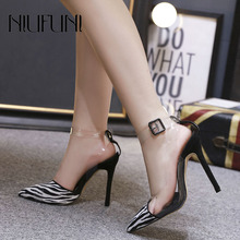 Sexy Pointed Toe Zebra Pattern Transparent Womens Pump New Female Sandals Super High Heels Color Matching Striped Ladies Shoes