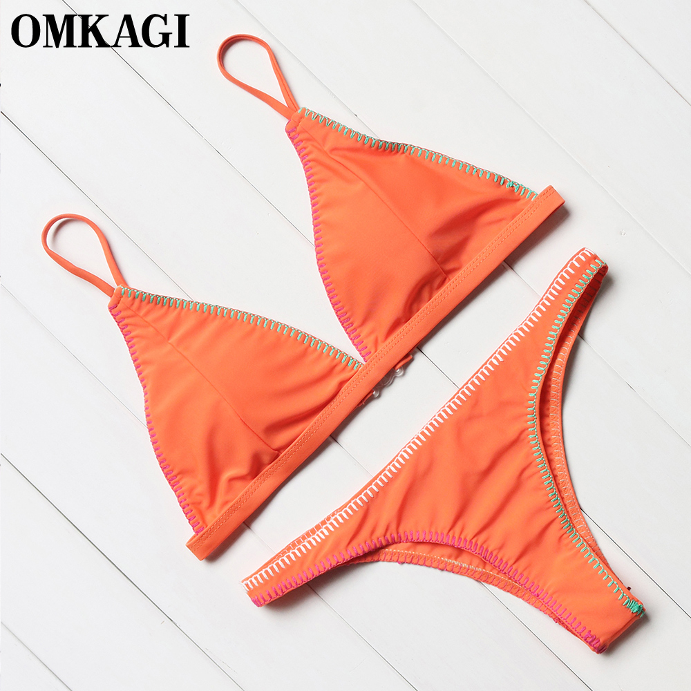 OMKAGI Solid Sexy Brazilian Bikinis Set Bikini 2017 Women Swimsuit Swimwear Bathing Suit Swim Wear Maillot De Bain Beach Wear