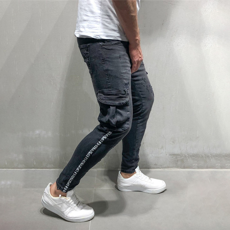 New Style Men Clothes 2019 Skinny Jeans Mens Stretch Denim Pant Distressed Slim Fit Pocket Jean Trousers C1346