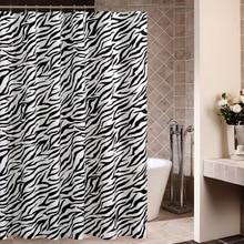 Zebra Stripes Polyester Fabric Bathroom Curtain Mildew Resistant Soft Bath Curtain Waterproof Skidproof Bathroom Accessories