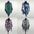 Lã xale 120 cm * 130 cm grande cabo Desigual cachecol de caxemira marca de lã de qualidade cachecol e xale inverno xadrez cachecol