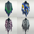 WOOL SHAWL 120cm*130cm Great Cape Desigual Cashmere Scarf Brand Quality Wool Scarf&Shawl Winter Plaid Scarf