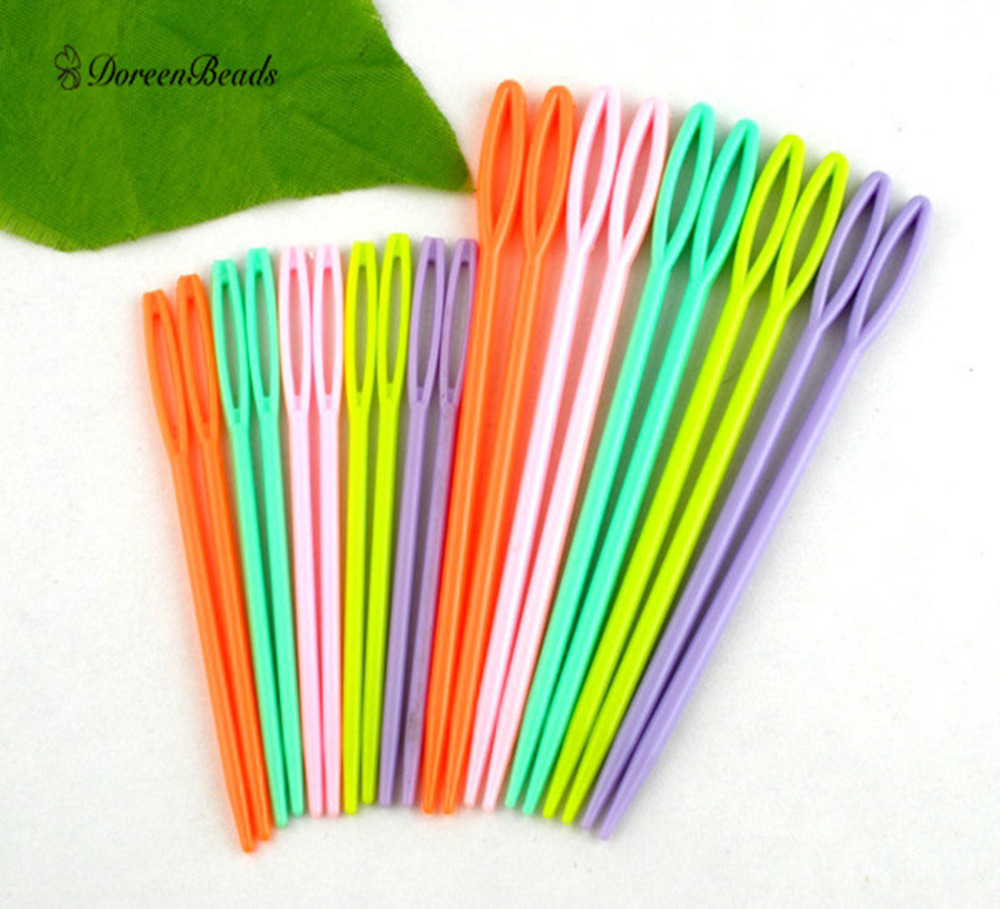 DoreenBeads Multicolor Plastic Sewing Needles DIY Crafts Accessories 2 3/4