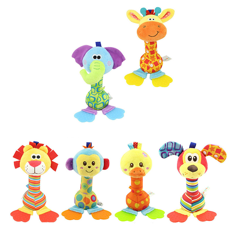 Cat Baby Rattle Toys Infant Newborn Soft Cartoon Plush Squeaker BB Sounder Doll Kids Cute Educational Animal Hand Bell