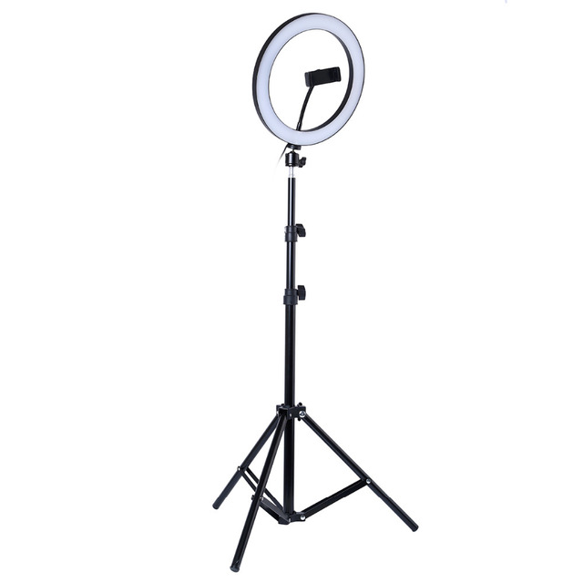 Photography LED Selfie Ring Light 10inch Metal Dimmable Camera Phone Ring Lamp With Stand Tripods For