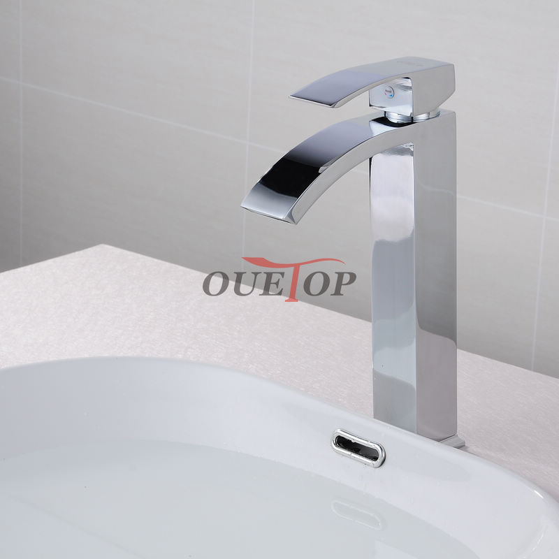 Free Shipping Classic New Deck Bathroom Basin Sink Mixer Tap Polished Chrome Faucet High Arch Waterfall