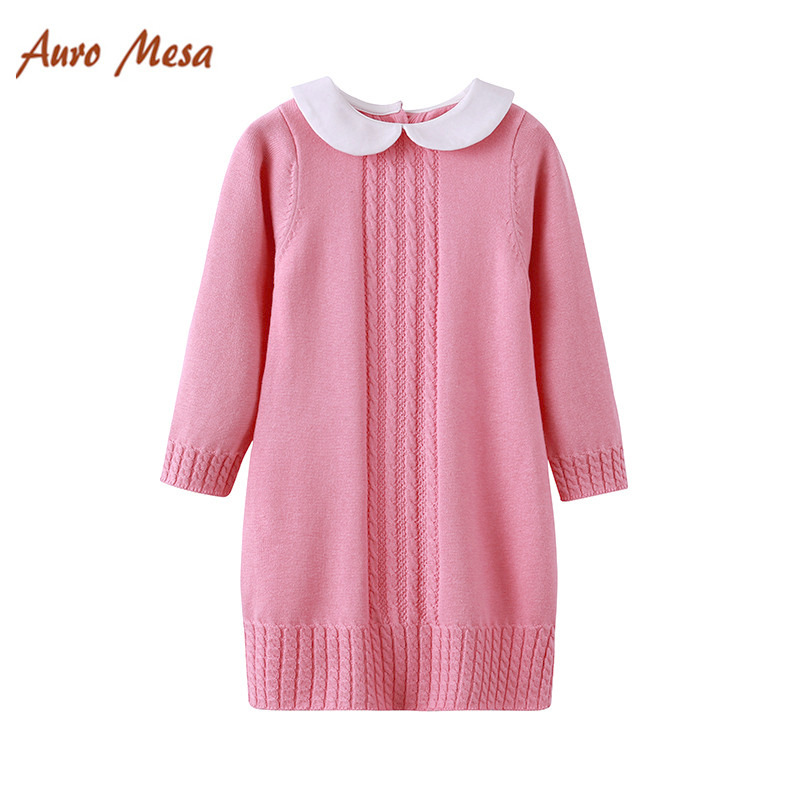 Little Girls Long-Sleeved Knit Dress , Toddler Girls Fall Clothes, Knitted Baby Clothes