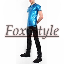 Free shipping latex t shirt with latex jeans