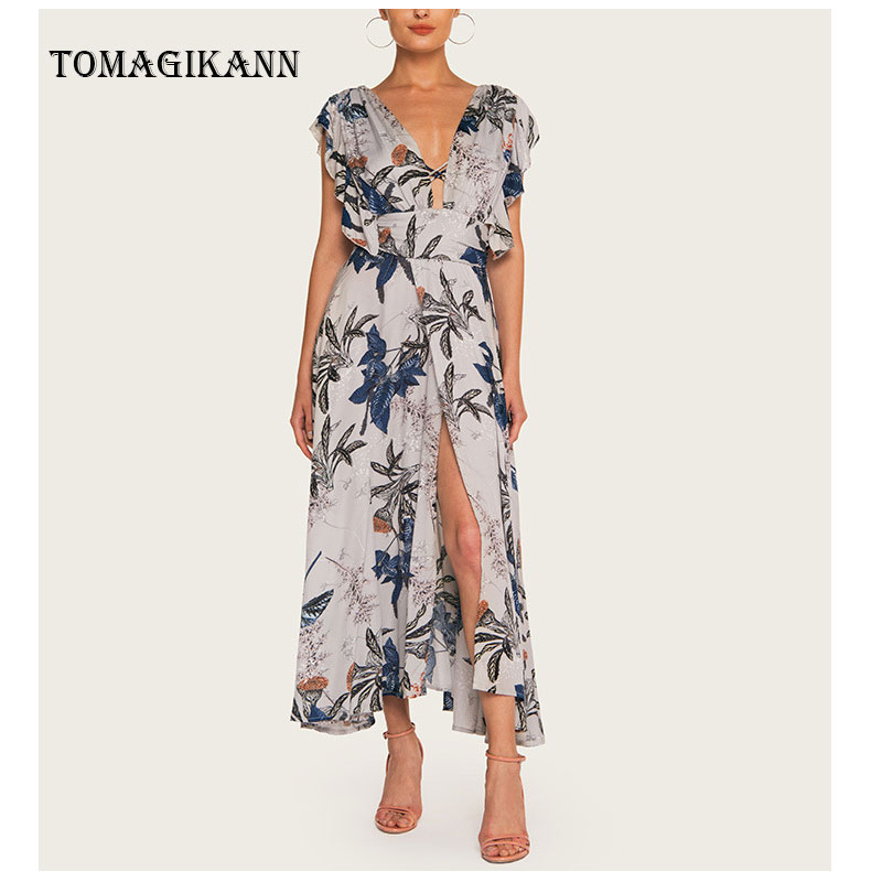2019 Summer Sexy Print Floral Deep V Side Split Long Dress Backless Sleeveless Women Dresses Beach Female Dresses Vestidos