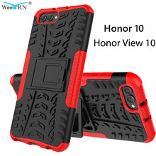 360 armure cas Honor View 10/Honor 10 plastique + Silicone couverture pour Huawei Honor View 10 Stand étui robuste hybride couverture