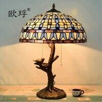Европейский Средиземноморский гардения настольная лампа Тиффани ретро дерево основание светильника ресторана бара клуба гостиная спальн