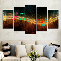 2016 Nieuwe Unframed Schilderen Op Canvas Abstract Muzieknotatie Pictures Home Decor 5 stks Wall Schilderijen Livingroom Deco Muurschilderingen