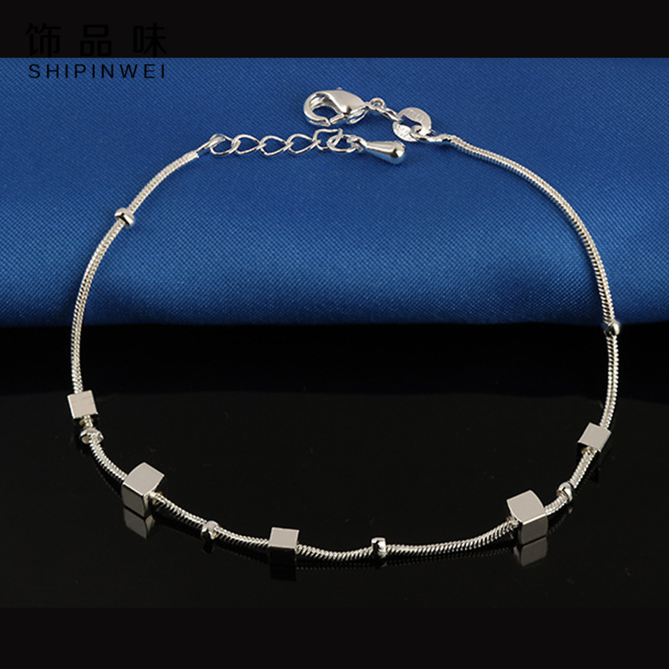 New Foot Anklet Silver Color Square Pendant Anklets Bracelet Chain For Women Foot Pulseras Jewelry Package Mail