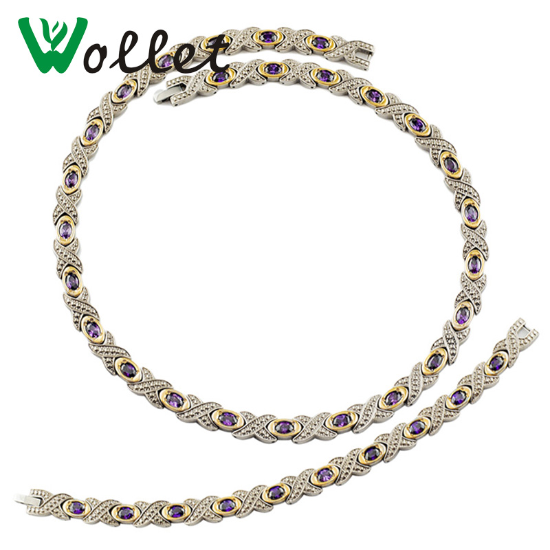 Wollet Jewelry Fashion Health Care Infrared Negative Ion Germanium Magnetic Titanium Purple Crystal Gold Color Jewelry Set цена