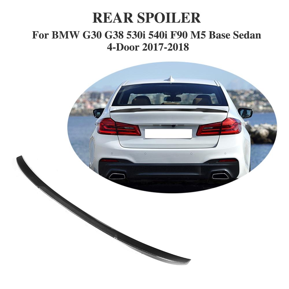 Carbon Fiber & FRP Car Styling Rear Spoiler Wing Lip Sticker for BMW G30 G38 530i 540i F90 M5 Base Sedan 4-Door 2017-2018 promotion 5pcs embroidery baby bedding set baby crib set ropa de cuna include bumper duvet bed cover bed skirt diaper bag