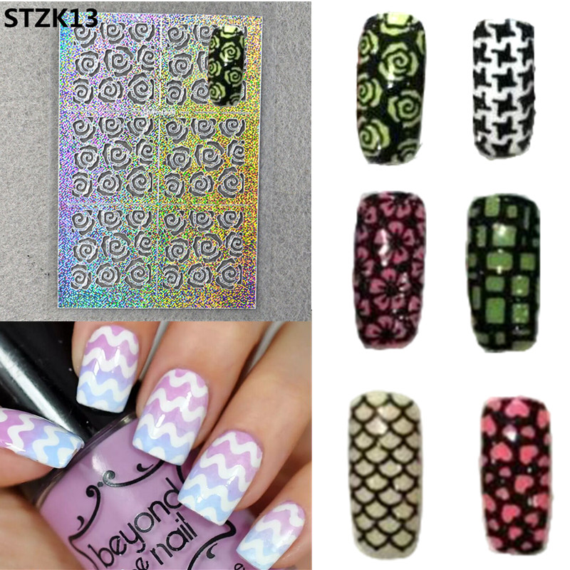 2017 New 1sheet Nail Vinyls Irregular Grid Pattern Stamping Nail Art Tips Manicure Stencil Nail Hollow Sticker Guide SASTZK01-24 3 designs in 1 sheet laser vinyls nail hollow sticker gold grid irregular patterns tips tool for nail art stencil manicure sa350