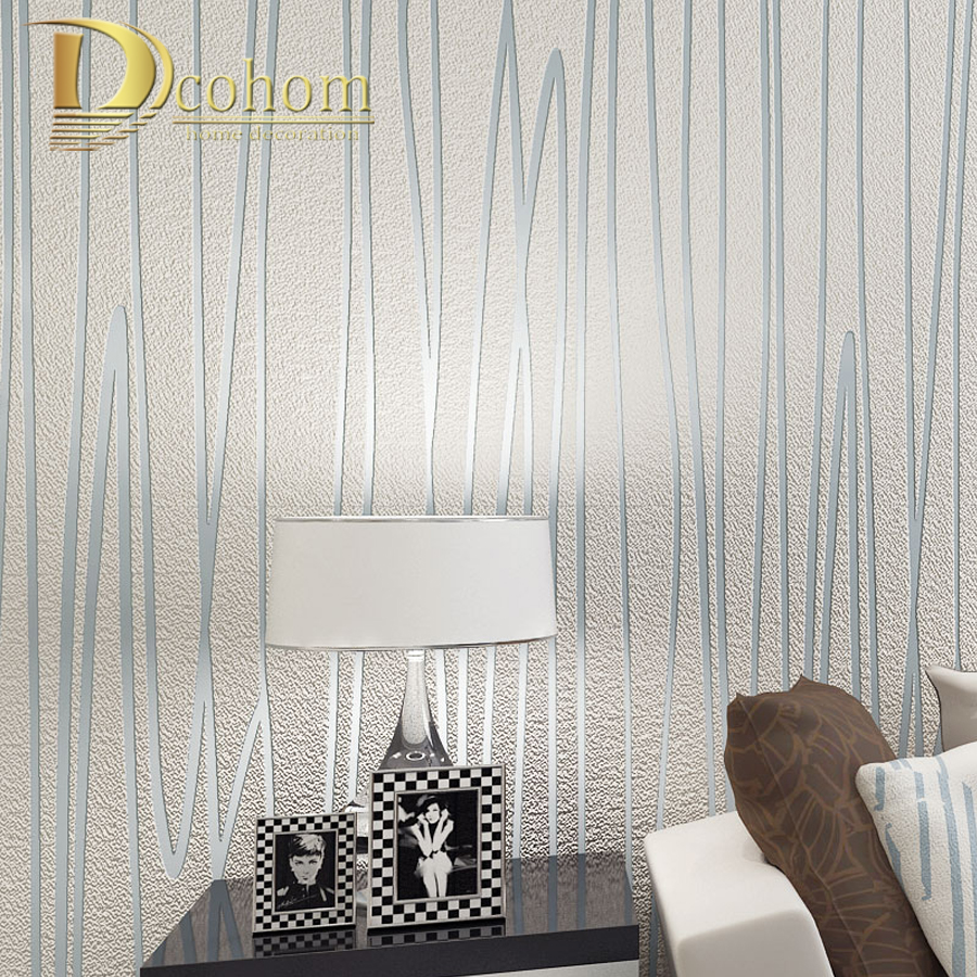 High Quality Thick Flocked Geometric Modern Striped Wallpaper For ...