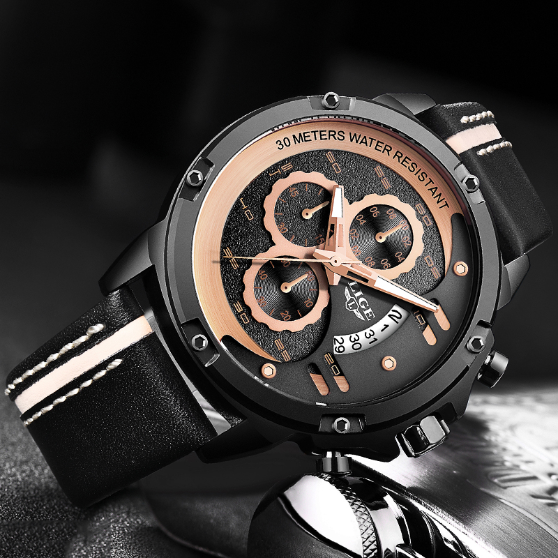 LIGE Mens Watches Top Luxury Brand Men Gold Watch Men Relogio Masculino Military Army Analog Quartz Wristwatch Montre Homme+BoxLIGE Mens Watches Top Luxury Brand Men Gold Watch Men Relogio Masculino Military Army Analog Quartz Wristwatch Montre Homme+Box