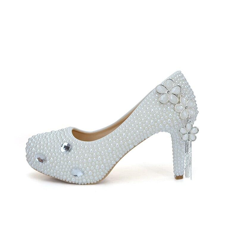 3 De Fleur Heels White Mariage 14cm Gland Bal white Talon 8cm Mariée Femmes Conception Chaussures 11cm Heels Pouces Partie Blanc Simple Perle La Pompes Mère q7zUSE