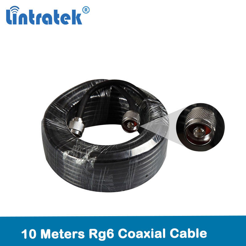 Lintratek RG6 10Meters Cable 50ohm TOP Quality Coaxial Cable N Male To N Male For Mobile Signal Repeater Booster & Antenna @7.5