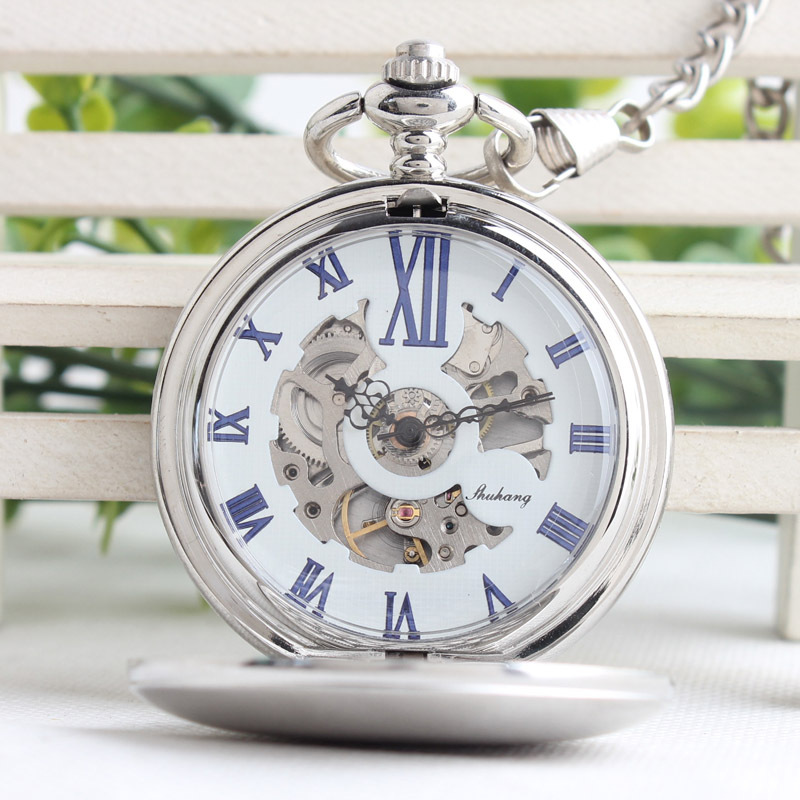 Fashion Silver Steel Steampunk Mechanical Pocket Watch Men Women Necklace Clock Gifts Vintage Skeleton Pocket Watch TJX023 fashion silver steel steampunk mechanical pocket watch men women necklace clock gift fob vintage hollow pocket watch p802