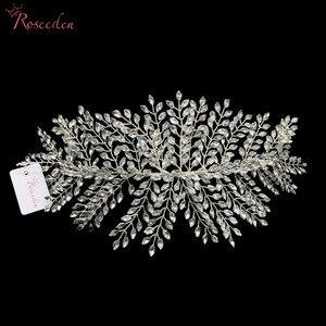 Image 4 - Женские свадебные обручи для волос, серебристые обручи для волос с кристаллами, аксессуары для волос, RE3283