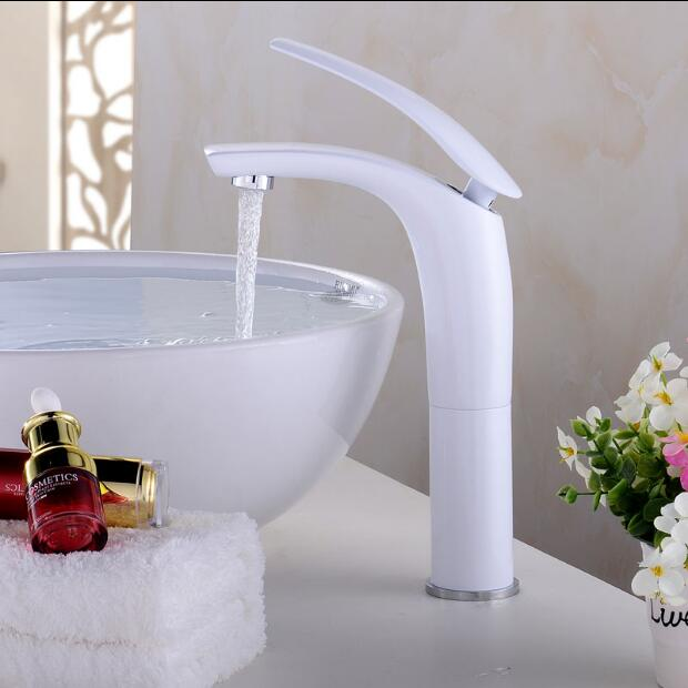 Newly Colorful Painted Basin Faucets Hot&Cold Mixer Bathroom Basin Tap Brass Gold/Chorme/White/Red/Black Faucet Crane Sink Tap antique brushed newly colorful painted basin faucets hot