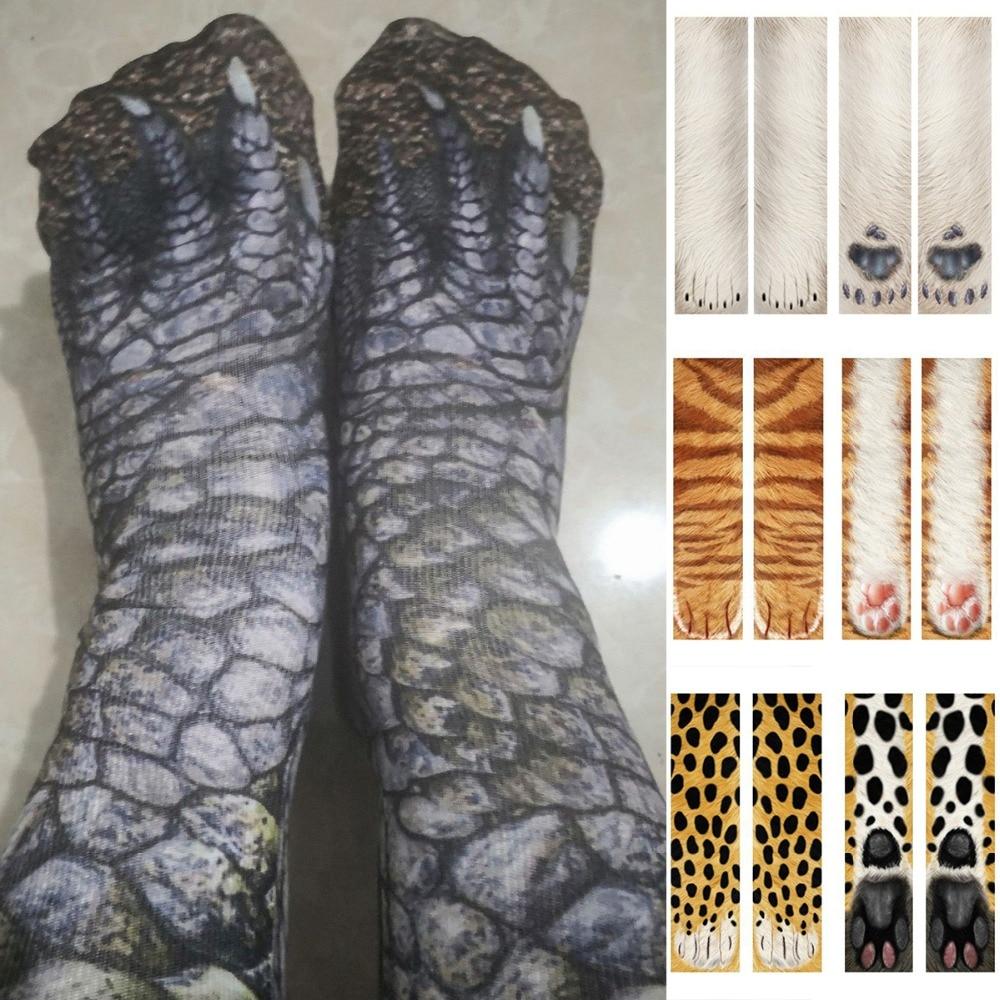 PUSEKY 2018 new 3D Print Animal Foot Hoof Paw Feet Crew   Socks   Adult Digital Simulation   Socks   Unisex Tiger Dog Cat   Sock