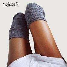 Yojoceli Sexy winter high knee socks autumn stockings female hosiery Casual high long socks black 2017 classical stockings