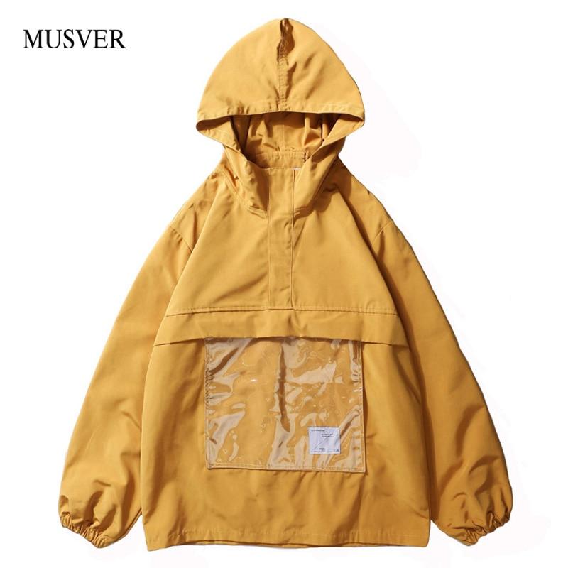 11d291eb7a61 Transparent Mode Pull Capuchon Capuche Mâle Hip Black yellow 2019 Hommes  Avant Vestes Casual Poche Automne Musver À Manteaux Hop Streetwear ...