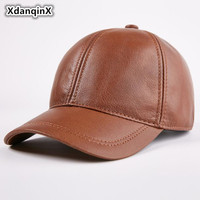 XdanqinX Men's Autumn Winter Single Warm Genuine Leather Baseball Caps New Adjustable Size Youth Cowhide Leather Visor Brand Cap