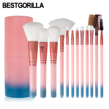 ФОТО  bestgorilla best professional 12pcs makeup brush  beauty tools 12 makeup brush sets cylinder gradient handle with eyebrow brush